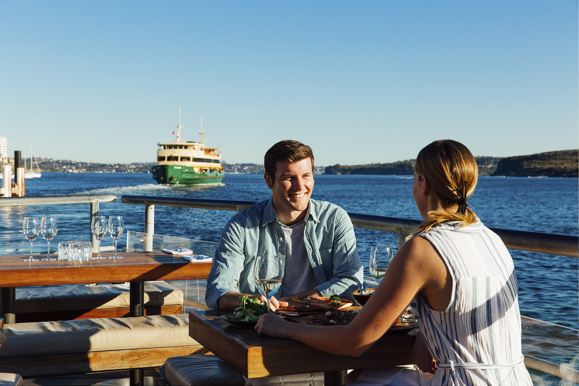 Enjoy food and drinks at Hugos Manly, at Manly Wharf