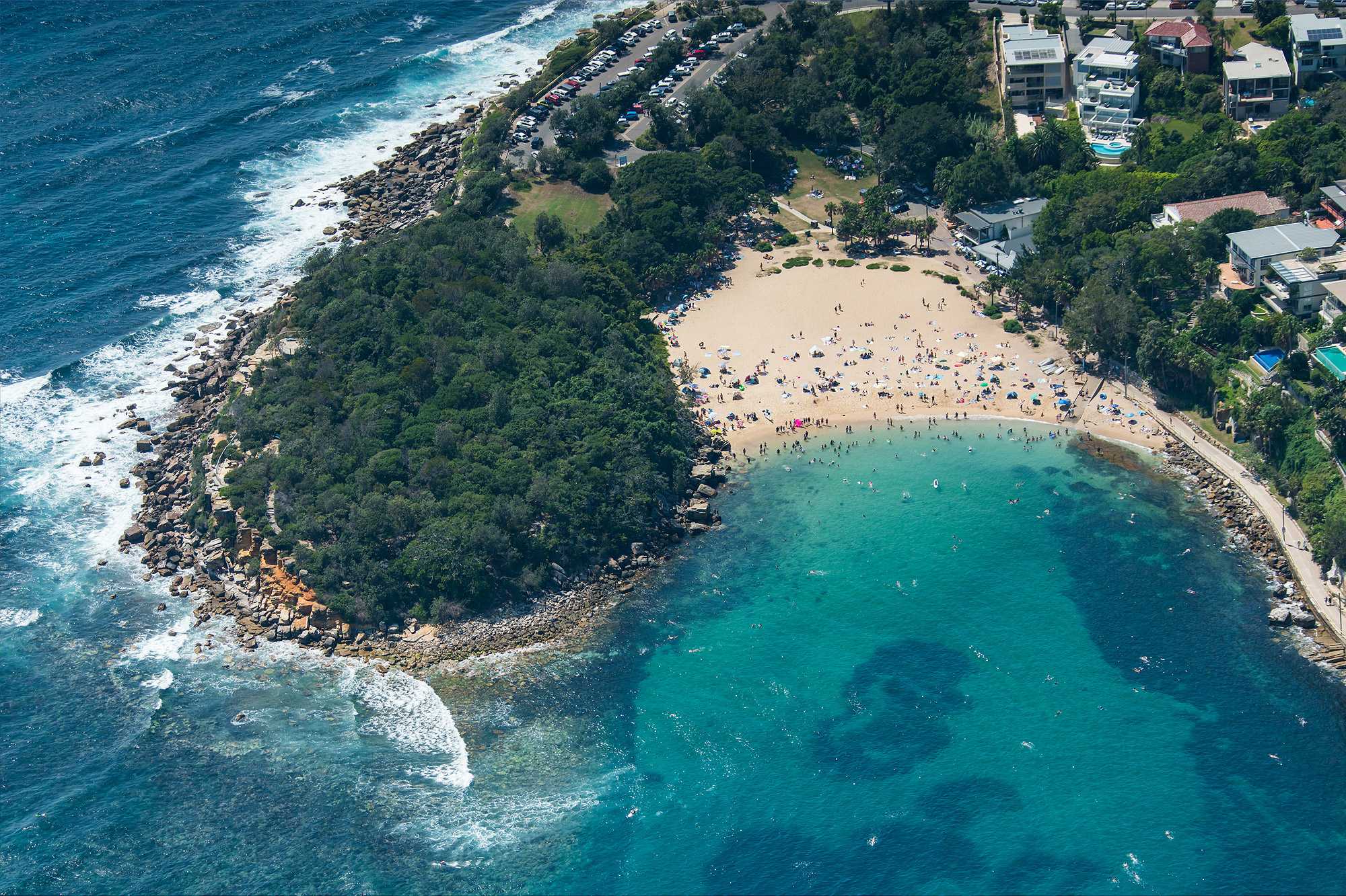 Aerial View of Shelly Beach next to Manly