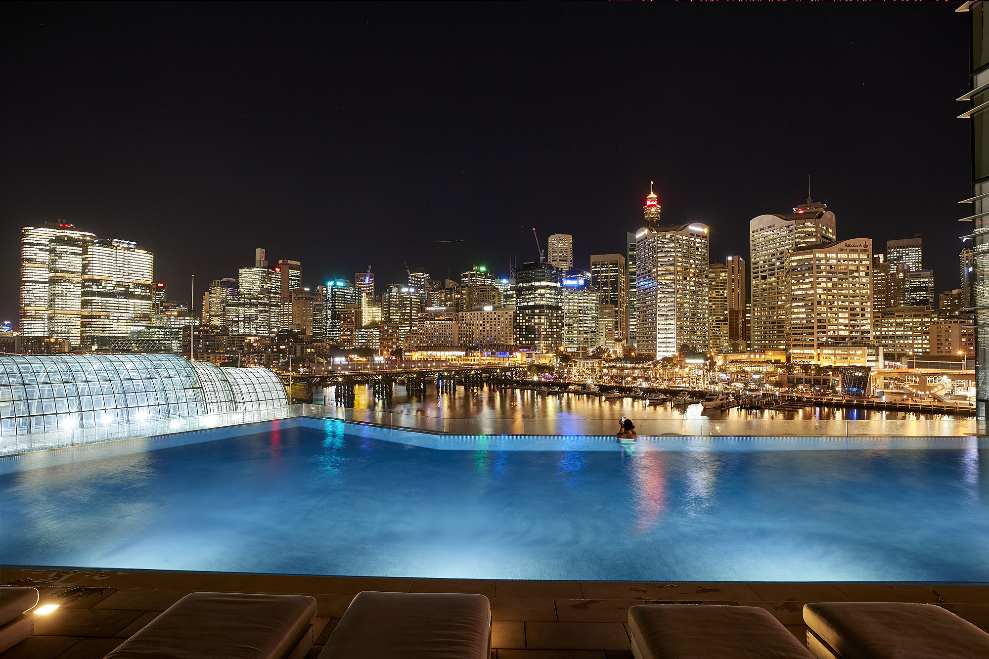 evening swim in the Le Rivage Pool bar pool overlooking Darling Harbour
